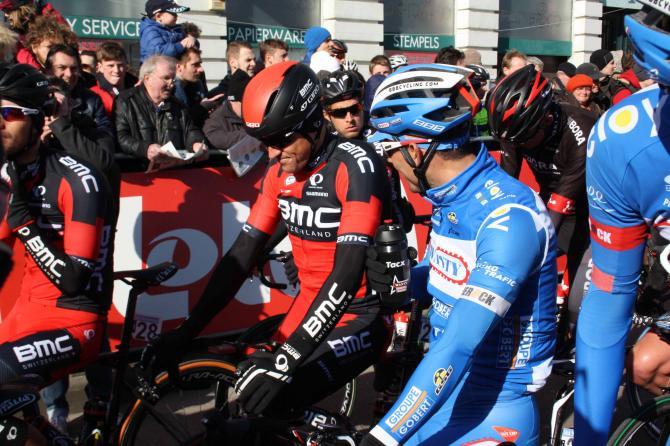 Greg Van Avermaet (BMC) takes his place on the start line at Omloop Het Nieuwsblad.