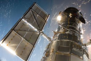 The Hubble Space Telescope photographed in 2009 at the start of the mission to upgrade and repair it.