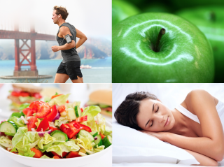 A man running, green apples, a salad, a woman sleeping