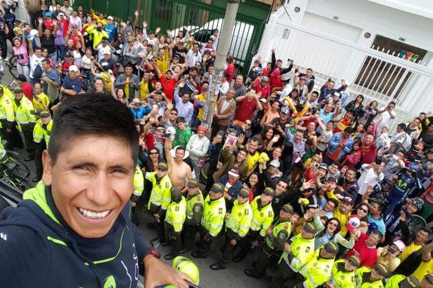 Nairo Quintana with the crowds on Colombia