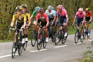ALTODELANGLIRU SPAIN NOVEMBER 01 Enric Mas Nicolau of Spain and Movistar Team White Best Young Jersey Daniel Martin of Ireland and Team Israel StartUp Nation Green Points Jersey Sepp Kuss of The United States and Team Jumbo Visma Primoz Roglic of Slovenia and Team Jumbo Visma Red Leader Jersey Richard Carapaz of Ecuador and Team INEOS Grenadiers Hugh Carthy of The United Kingdom and Team EF Pro Cycling Michael Woods of Canada and Team EF Pro Cycling Aleksander Vlasov of Russia and Astana Pro Team Jonas Vingegaard Rasmussen of Denmark and Team Jumbo Visma Wouter Poels of The Netherlands and Team Bahrain Mclaren Breakaway during the 75th Tour of Spain 2020 Stage 12 a 1094km stage from Pola de Laviana to Alto de lAngliru 1560m lavuelta LaVuelta20 La Vuelta on November 01 2020 in Alto de lAngliru Spain Photo by David RamosGetty Images