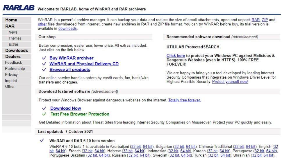Website screenshot for WinRAR
