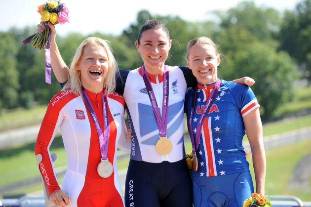 Women's time trial podium, London 2012 Paralympic Games, road day one