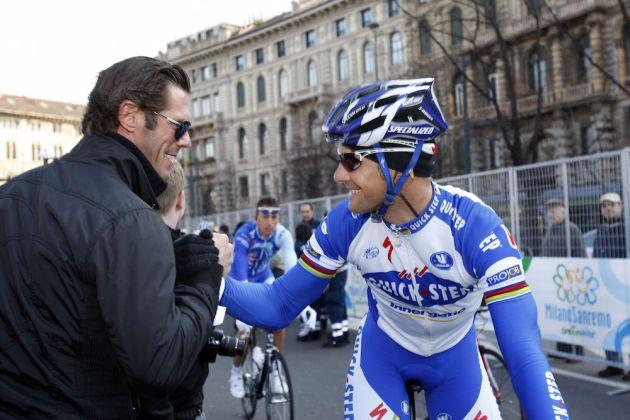 Mario Cipollini with Tom Boonen at the 2009 Milan-San Remo (Sunada)