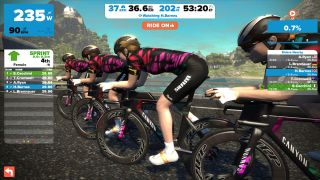 A screen shot from the Zwift training program featuring Canyon//SRAM and Tiffany Cromwell.