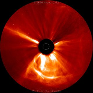 This image captured on July 23, 2012, at 12:24 a.m. EDT, shows a coronal mass ejection that left the sun at the unusually fast speeds of over 1,800 miles per second. Released March 18, 2014.