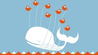 A cartoon whale being lifted out of the sea by birds with ropes