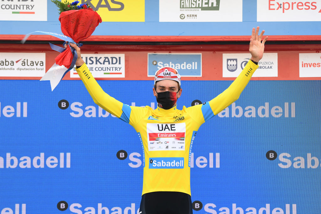 ONDARROA SPAIN APRIL 09 Podium Brandon Mcnulty of United States and UAE Team Emirates Yellow Leader Jersey Celebration during the 60th ItzuliaVuelta Ciclista Pais Vasco 2021 Stage 5 a 1602km stage from Hondarribia to Ondarroa Mask Covid Safety Measures itzulia ehitzulia on April 09 2021 in Ondarroa Spain Photo by David RamosGetty Images