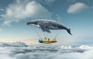 a whale holding up a flying airplane like a balloon