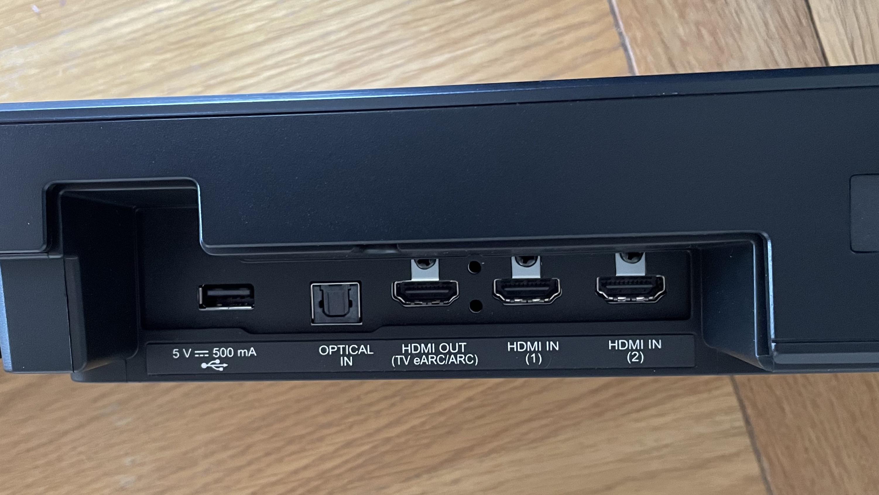 a close up of the lg sp11ra soundbar's connections