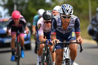 CAP DCOUVERTE FRANCE AUGUST 02 Fumiyuki Beppu of Japan and Team Nippo Delko Provence Samuel Leroux of France and Team Natura4Ever Roubaix Lille Mtropole during the 44th La Route dOccitanie La Depeche du Midi 2020 Stage 2 a 1745km stage from Carcassonne to Cap Dcouverte 344m RouteOccitanie RDO2020 on August 02 2020 in Cap Dcouverte France Photo by Justin SetterfieldGetty Images