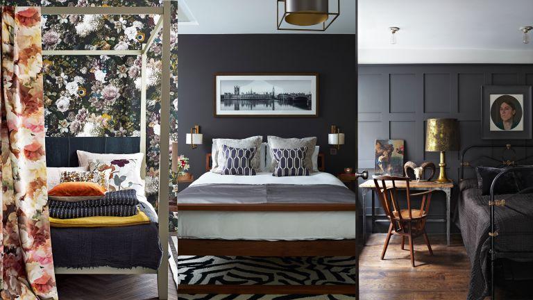 An example of black bedroom ideas showing a composite of black bedroom ideas featuring floral wallpaper, wall paneling, and decorative cushions