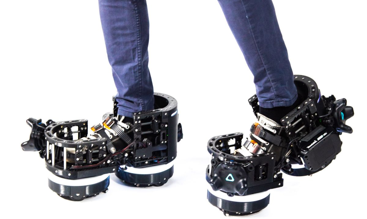This company's solution to VR locomotion: huge robot shoes