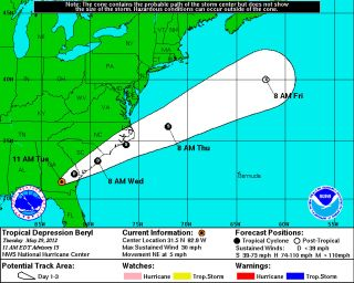 The forecasted track and intensity of Tropical Depression Beryl.