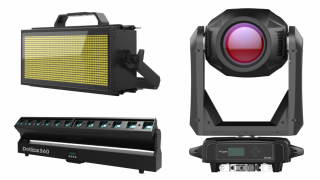 ACME's Solar Impulse (pictured on the right) hybrid moving head with 1000W LED engine will be at ISE 2020.