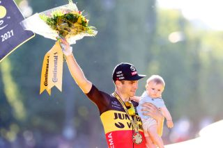 Wout van Aert (Jumbo-Visma) on the podium after winning his third Tour de France stage