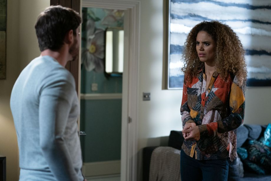 Chantelle Atkins confronts her husband Gray Atkins in EastEnders
