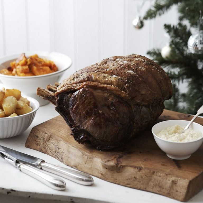 Roast Rib of Beef with Horseradish and Roasted Butternut Squash-woman and home-recipes