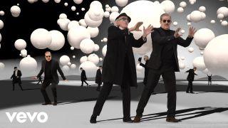 A still from Yello's video Waba Duba
