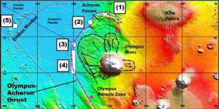 Some landforms north and west of the Mars volcano Olympus Mons may be evidence of recent plate tectonic activity.