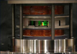 A prototype of the nuclear fusion system that relies on coils and compressing magnetic fields to produce energy.