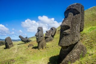 Several moai statues on Rapa Nui (Easter Island)