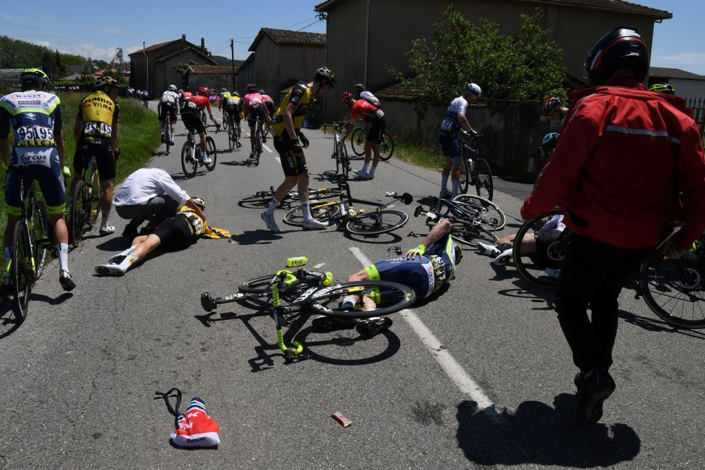 Several riders went down in the crash