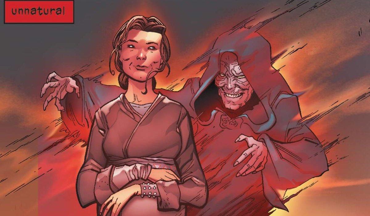 Darth Vader Palpatine stands behind Shmi Skywalker, in spirit form