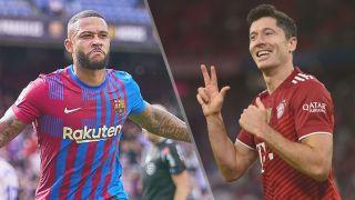 Barcelona vs Bayern Munich live stream — Memphis Depay of Barcelona and Robert Lewandowski of Bayern Munich