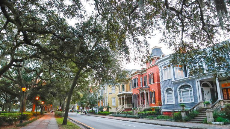 Historic houses around Forsyth Park, downtown Savannah, GA.