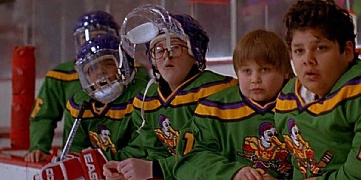 Shaun Weiss, Matt Doherty, Brandon Adams, and Aaron Schwartz in The Mighty Ducks