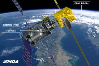An artist's conception of how the SIS mobile space gas station will refuel client satellites on orbit.