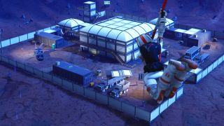 A royale battler skydives toward the tweaked Dusty Divot in Fortnite.