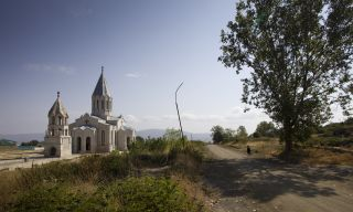 an image of Ghazanchetsots Cathedral in Nagarno-Karabakh, a disputed region between Armenia and Azerbaijan
