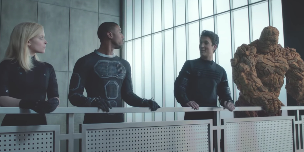 Kate Mara, Michael B. Jordan, Miles Teller, and Jamie Bell in Fantastic Four (2015)