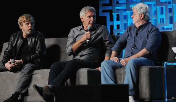 Mark Hamill Harrison Ford and George Lucas