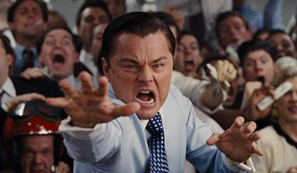 Leonardo DiCaprio finishes his toss in The Wolf Of Wall Street