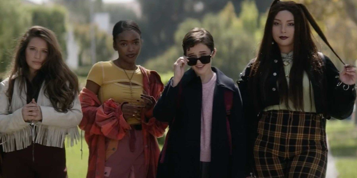 Lovie Simone, Gideon Adlon, Cailee Spaeny, and Zoey Luna in The Craft Legacy