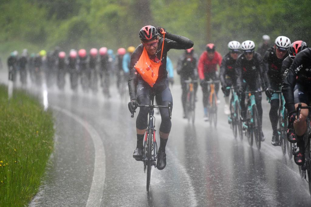 Filippo Ganna takes a musette at the Giro d'Italia