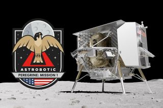Astrobotic's Peregrine Mission One (PM1) mission patch represents the company's first flight of its Peregrine lunar lander and the first attempt to land a commercial spacecraft on the moon.