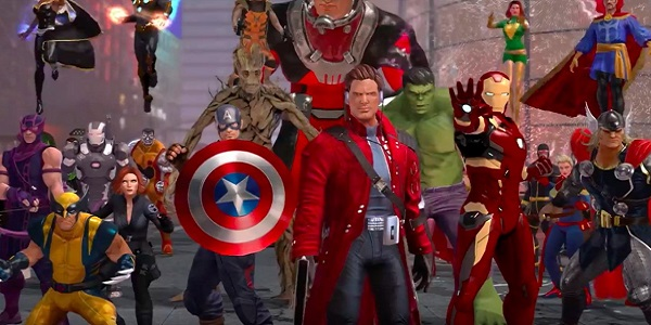 Marvel characters gather in Marvel Heroes.