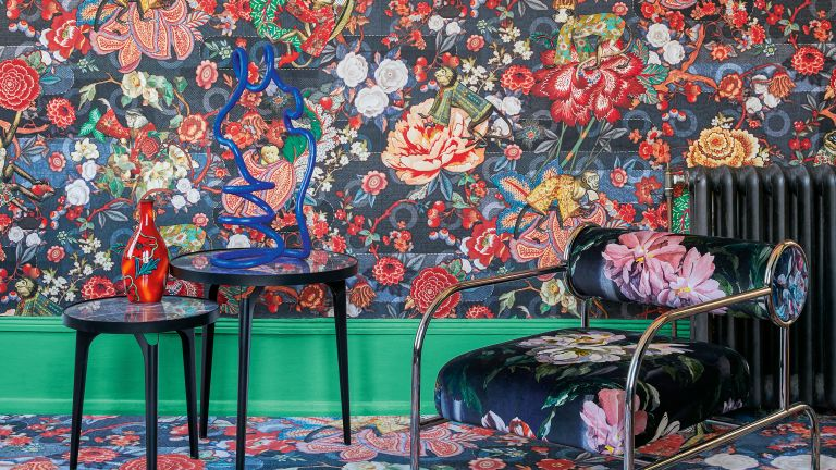 Abigail Ahern maximalist tip, maximal room with floral wallpaper