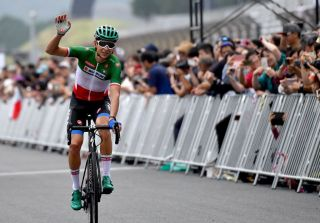 Davide Formolo of Italy crosses the finish line to finish in second place in the cycling road race Tokyo 2020 Olympic Games test event at the Fuji Speedway race cource in Oyama town Shizuoka prefecture on July 21 2019 Photo by TOSHIFUMI KITAMURA AFP Photo credit should read TOSHIFUMI KITAMURAAFP via Getty Images