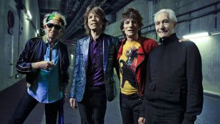 Wood, second right, with his Rolling Stones bandmates