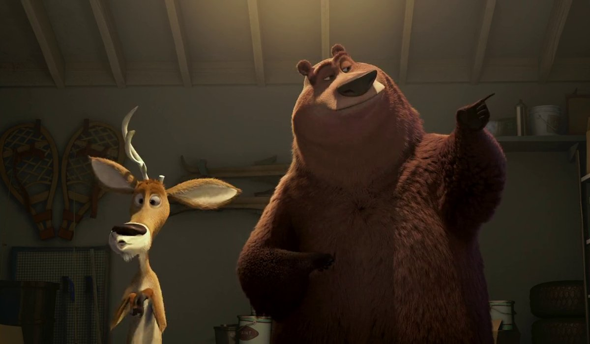 Elliot and Boog check out a supply room in Open Season.