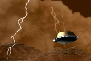 An artist's conception of the Cassini-Huygens probe descending through a lightning storm in Titan's thick nitrogen atmosphere.