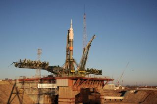 A Russian Soyuz rocket stands atop its launchpad at Baikonur Cosmodrome in Kazakhstan ahead of the Dec. 15, 2015 launch of the Expedition 46 crew to the International Space Station.
