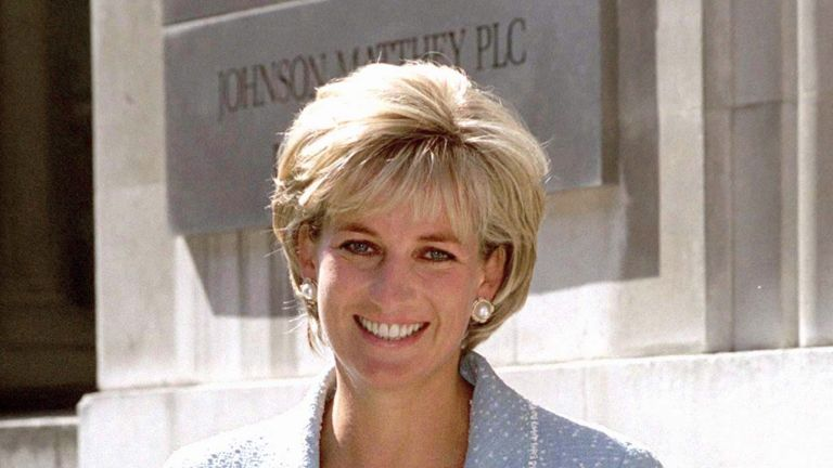 LONDON, UNITED KINGDOM - APRIL 21: Diana, Princess Of Wales, Leaving The British Lung Foundation In Hatton Garden After Being Presented With A Bouquet Of The First Rose Named After Her. (Photo by Tim Graham Photo Library via Getty Images)