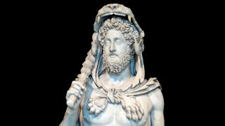 A sculpture of the Roman emperor Commodus, dressed as the mythical hero Hercules.