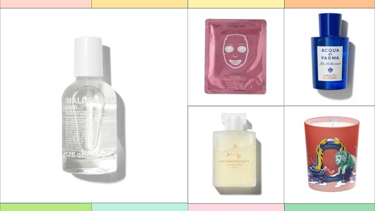 A selection of products from the Space NK Sale which includes brands like Malin + Goetz, 111 Skin, Aromatherapy Associates, Diptyque, Acqua Di Parma
